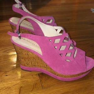 Franco Sarto Shoes - Pink suede Franco Sarto wedges